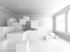 Modern Interior Background White Empty Room With Many Cubes 0명에 대한 스톡 사진 및 기타 이미지 iStock