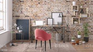 study office desk frame roter raum interior template lamp biblioteca moderna shelf frames brick grey dark imagens fotografias immagini premium