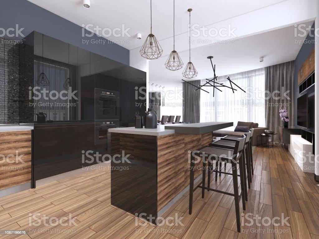 photo libre de droit de cuisine moderne avec bois et noir brillant armoires de cuisine ilot de cuisine avec bar tabourets comptoirs en pierre appareils a encastrer banque d images et plus d images