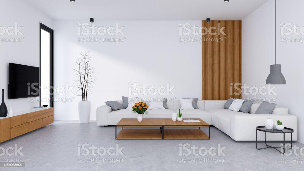 photo libre de droit de salon moderne design et style de vie confortable canape blanc avec meuble de tv en bois sur sol en beton 3d render banque d images et plus d images