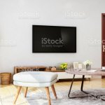Modern Living Room Design Sofa Bench Coffee Table Tv And Floor Lamp Stock Photo Download Image Now Istock