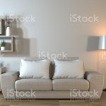 Modern Living Room Interior With Sofa And Green Plantslamptable Zen Style3d Rendering Stock Photo Download Image Now Istock