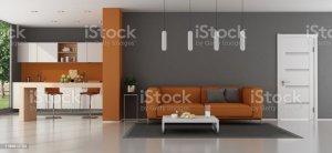 kitchen living sofa closed wooden door premium chairs