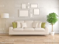 Modern Living Room With Picture Frame On Wall stock photo ...