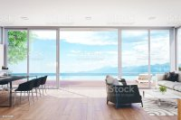 Modern Luxury Living Room With Pool And Ocean View Stock ...