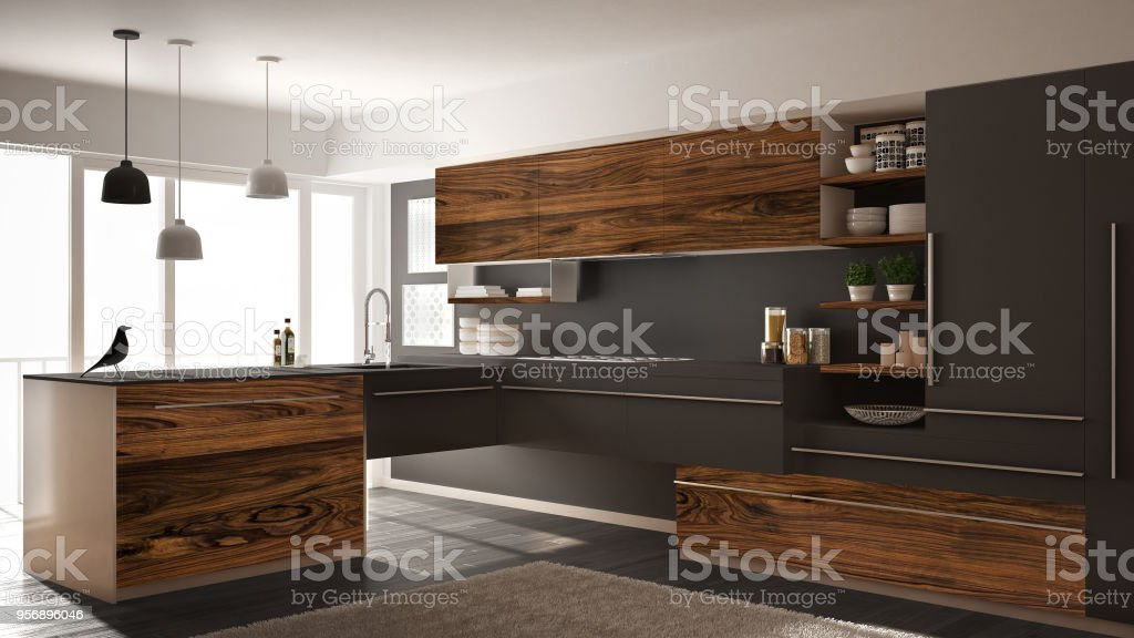 modern kitchen rugs fire extinguisher 現代簡約廚房與經典木制配件地毯和全景視窗深灰色建築室內設計照片檔及更 現代簡約廚房與經典木制配件 地毯和全景視窗 深灰色