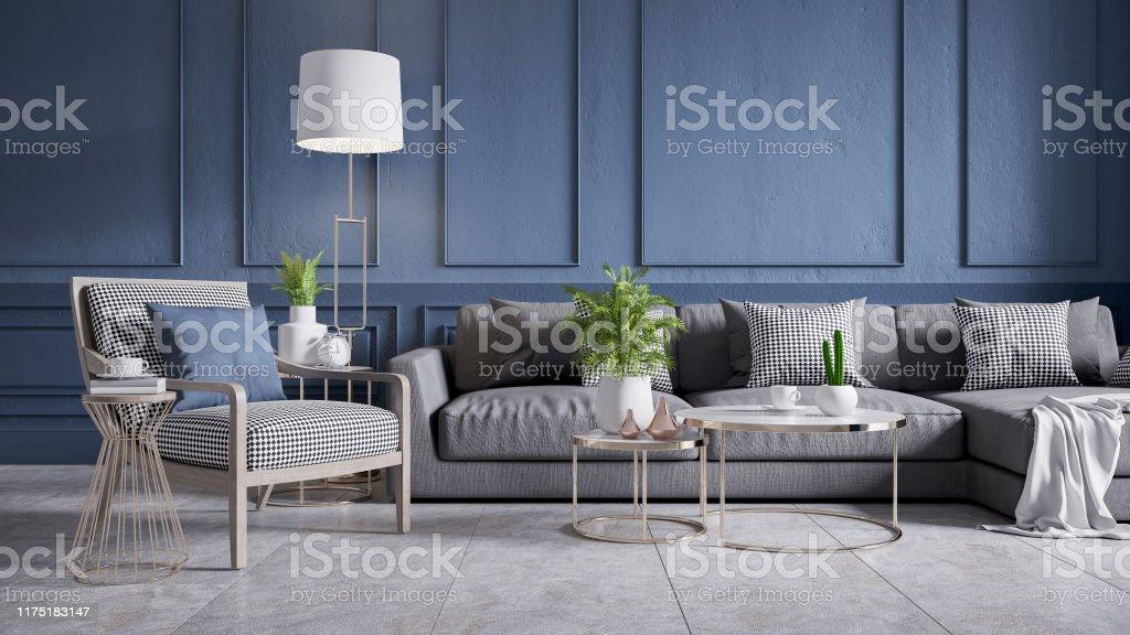 photo libre de droit de interieur moderne de cru du salon sofa gris avec le fauteuil