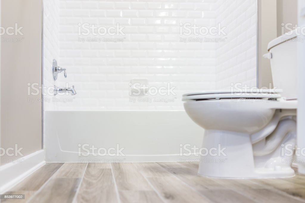 modern white plain clean toilet bathroom with shower tiles and hardwood floors from ground level stock photo download image now istock