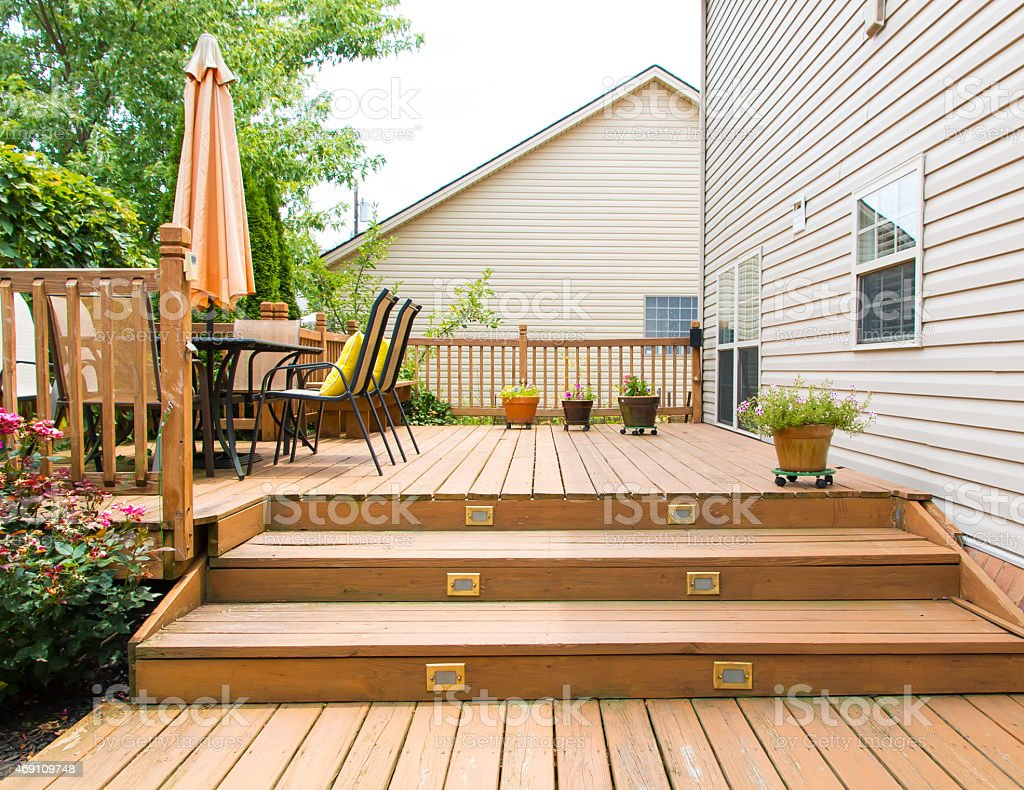 https www istockphoto com photo modern wooden patio and garden area of a family house gm469109748 61359452