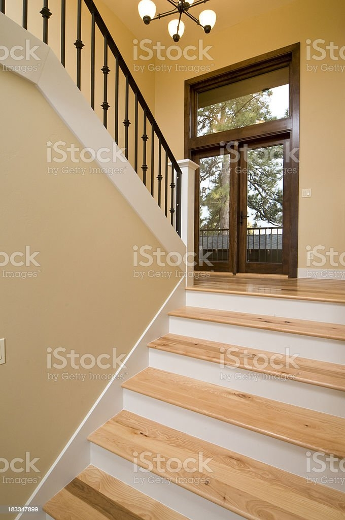 Modern Wooden Staircase Stock Photo Download Image Now Istock | Modern Wood Staircase Railing | Residential | Interior | Floor To Ceiling | Ultra Modern | Traditional Wood Stair