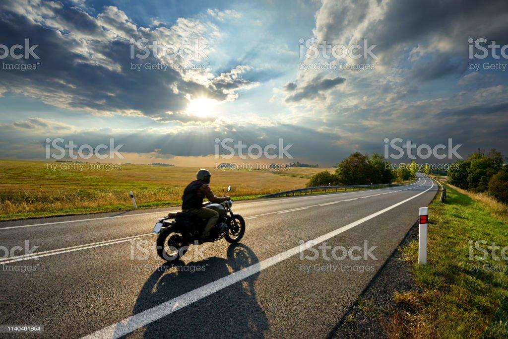 Biker Girl Wallpaper Free Download Motorcycle Driving On The Asphalt Road In Rural Landscape