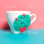 Mug Decorated With Flowers Made Of Polymer Clay Crafts From Polymer Clay Mug Decorated With Stucco Made Of Polymer Clay Stock Photo Download Image Now Istock