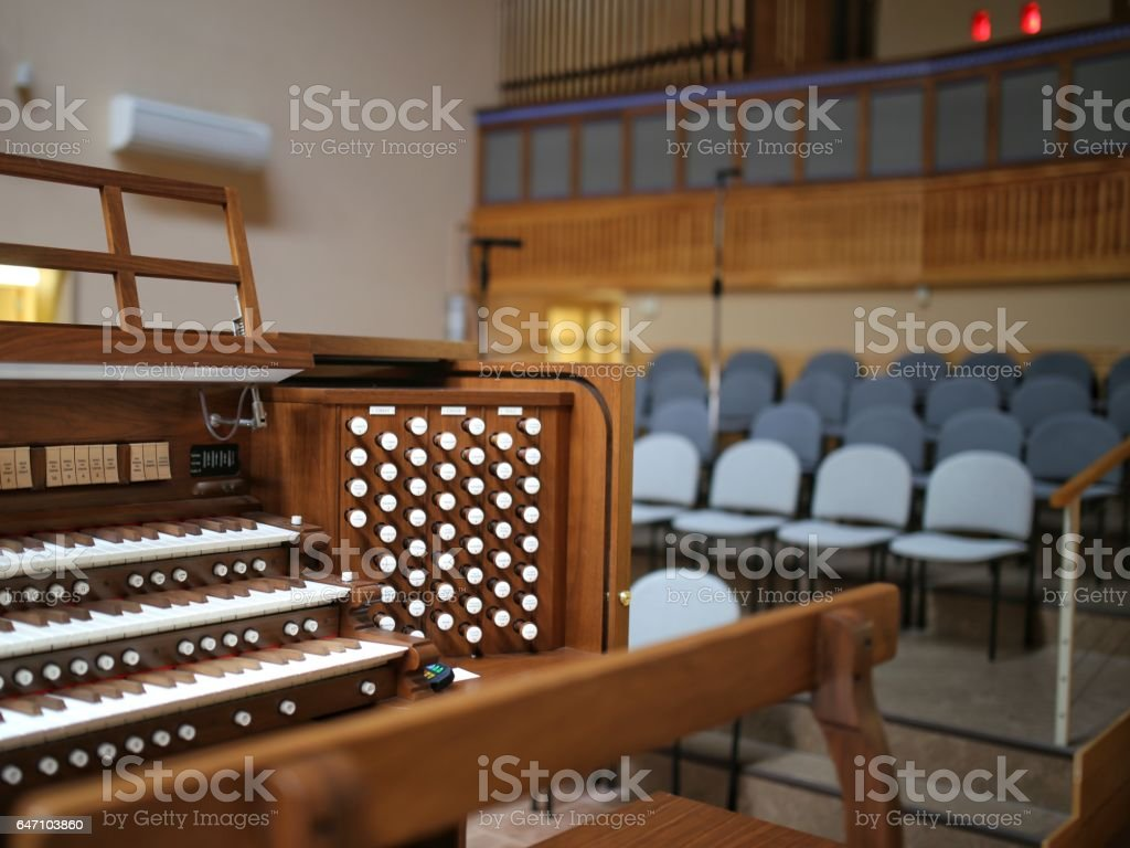 wooden church choir chairs beach chair umbrella set musical electrical pipe organ keyboard loft stock image