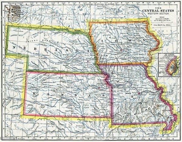 Nebraska Iowa Kansas Missouri Map 1883 Stock Photo amp More