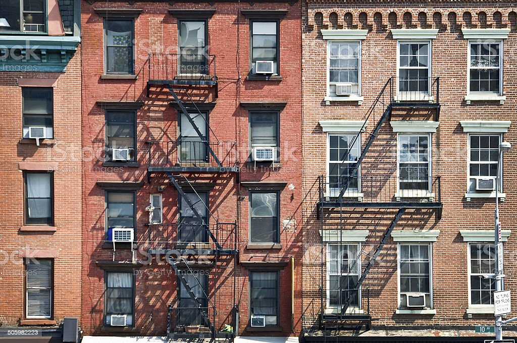 New York Brick Buildings With Outside Fire Escape Stairs