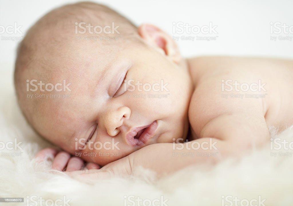 Newborn Baby Girl Sleeping On Her Stomach Stock Photo ...