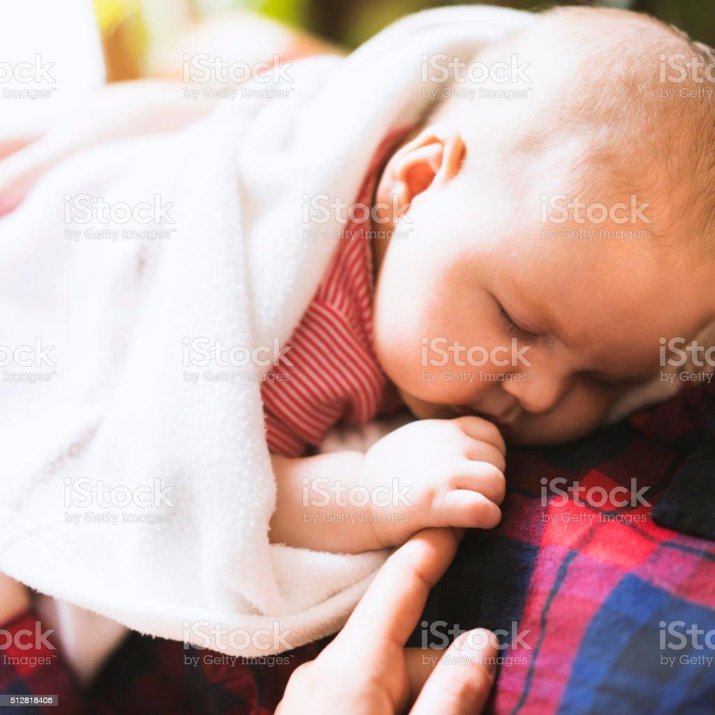 Newborn Baby Sleeping On Her Mothers Chest Stock Photo ...