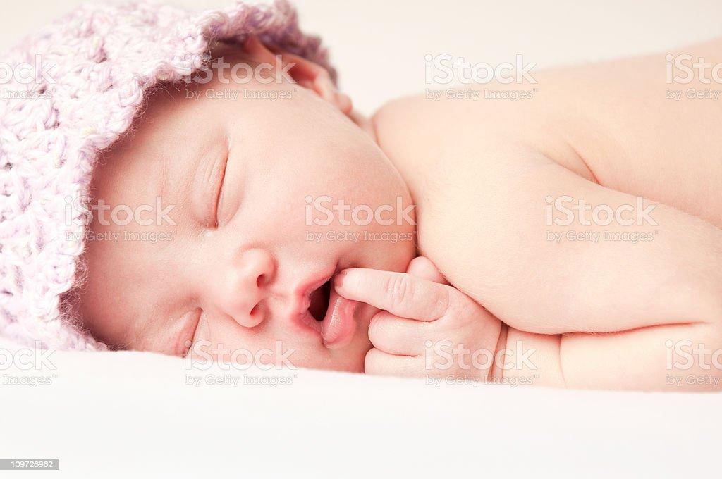Newborn Baby Sleeping On Stomach Stock Photo - Download ...