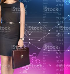 office girl holding leather briefcase on colorful background of diagrams royalty free stock photo [ 1024 x 795 Pixel ]