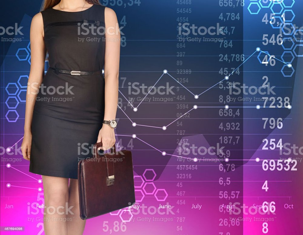 medium resolution of office girl holding leather briefcase on colorful background of diagrams royalty free stock photo
