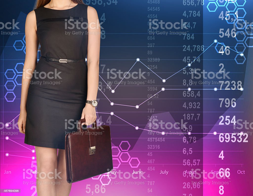hight resolution of office girl holding leather briefcase on colorful background of diagrams royalty free stock photo