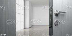 door open apartment background office doorway illustration empty 3d blur estate handle banner