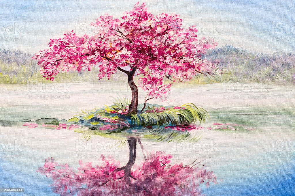 Oil Painting Landscape Oriental Cherry Tree Sakura On The Lake Stock Photo  More Pictures of