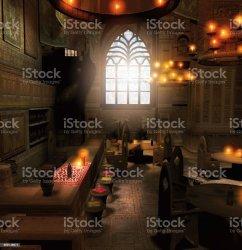 fantasy tavern interior scene medieval