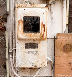 old rusty fuse box with pealing paint on abandoned house stock image  [ 768 x 1024 Pixel ]