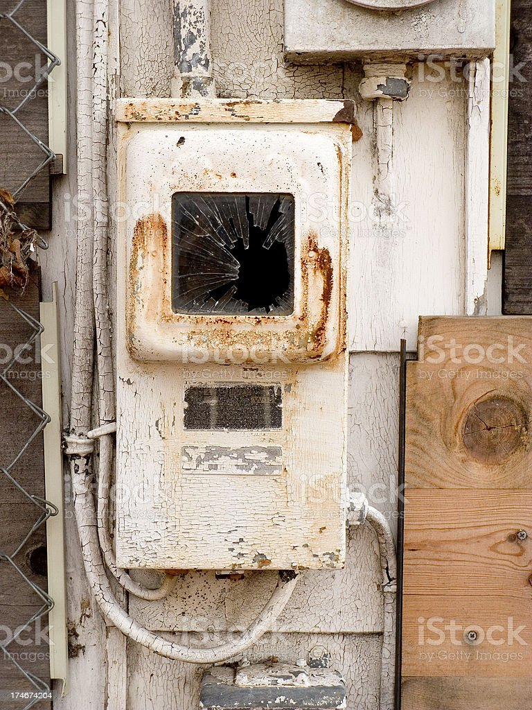 hight resolution of old rusty fuse box with pealing paint on abandoned house royalty free stock photo