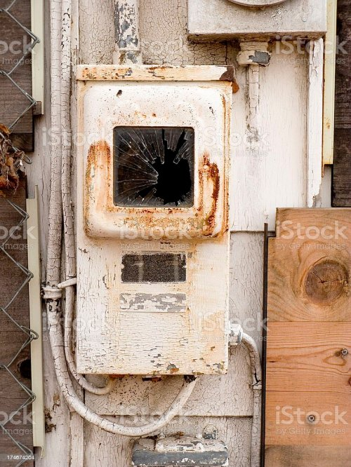 small resolution of old rusty fuse box with pealing paint on abandoned house stock image