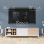 Tv On The Cabinet In Modern Living Room On Dark Wall Background Stock Photo Download Image Now Istock