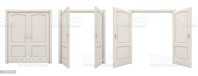door background open double isolated blank closed copy cut space