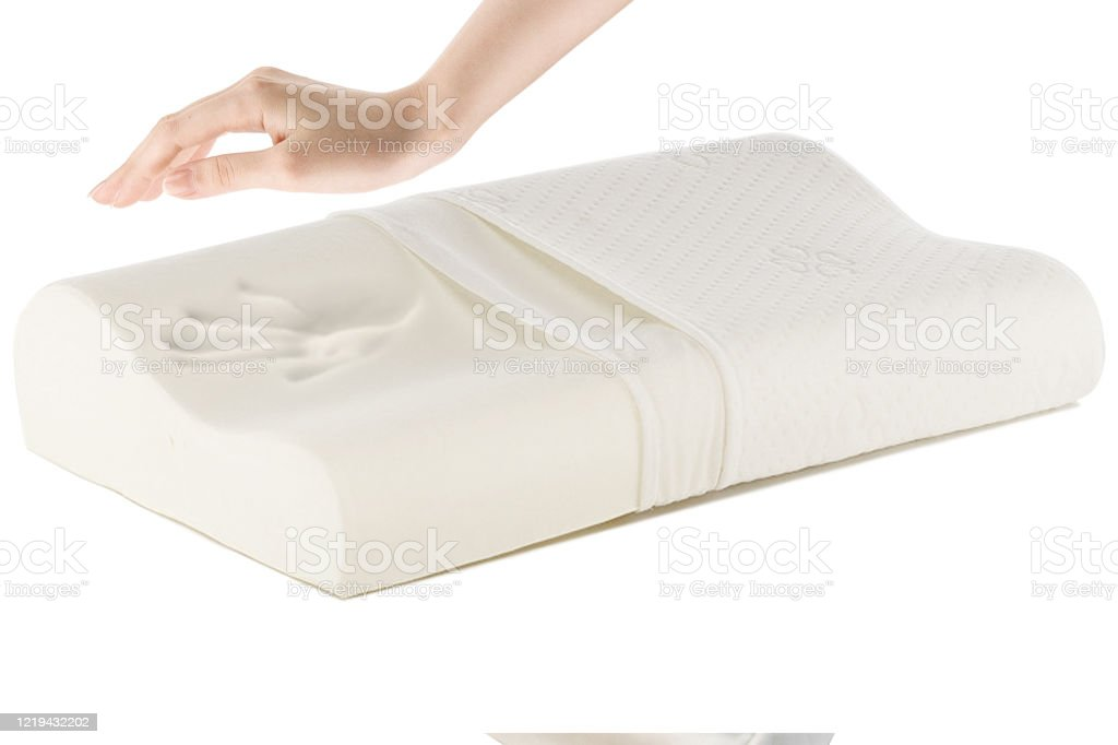 orthopedic pillow with a memory effect medical treatment pillow for sleep comfort memory pillow under the head with a recess under the shoulder isolated on white background sleeping support pillow stock photo