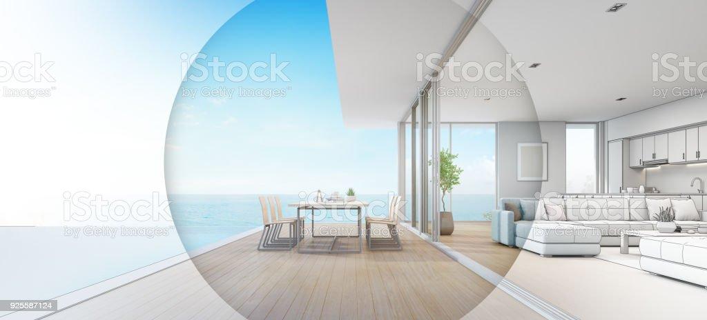 beach house kitchen backsplash ideas sets 室外餐飲和海景起居室的豪華海濱別墅與露臺附近的游泳池在現代設計度假 室外餐飲和海景起居室的豪華海濱別墅與露臺附近的游泳池在