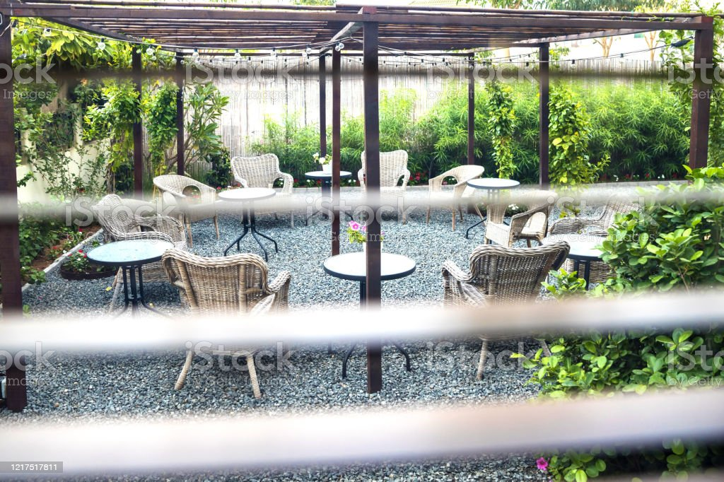 outdoor furniture setup in the backyard stock photo download image now istock