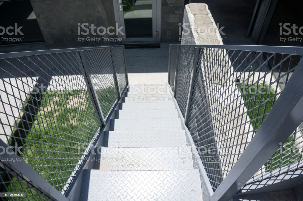 Outdoor Iron Staircase With Stainless Steel Handrail Iron Stairs | Stainless Steel Outdoor Handrails | Safety | Stainless Pipe | Hand Rail | Tube | Square
