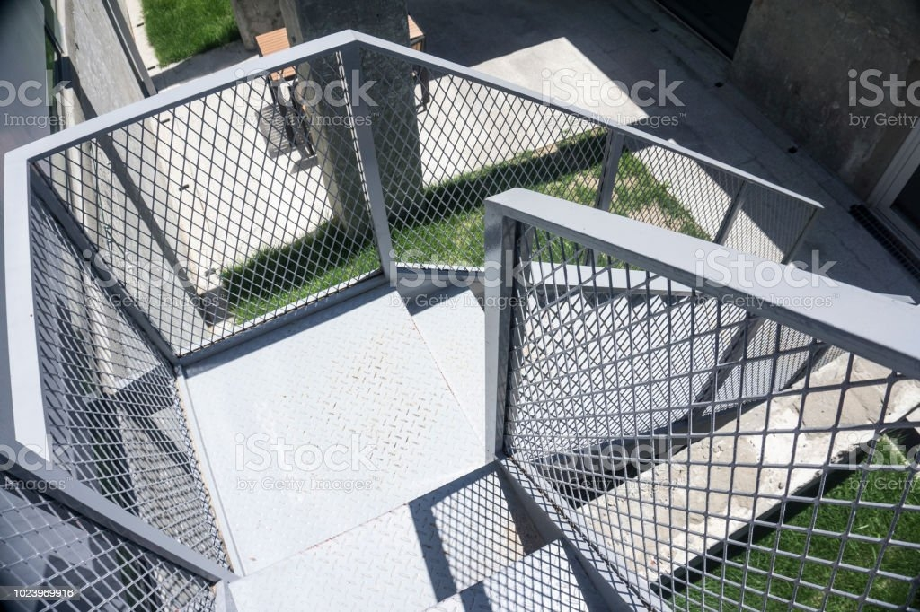 Outdoor Iron Staircase With Stainless Steel Handrail Iron Stairs | Stainless Steel Hand Railing | Balustrade | Modern | Fabrication | Welded Steel | Stair Outdoors