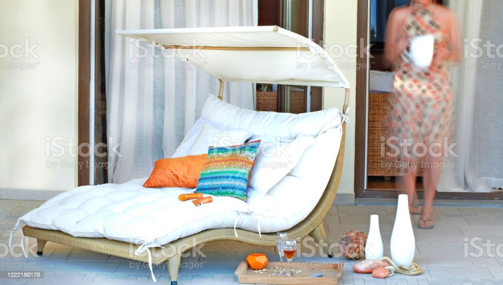 outdoor patio daybed set stock photo download image now istock