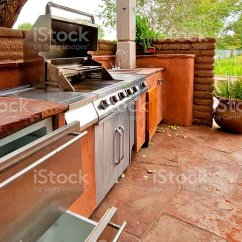 Outdoors Kitchen Sink And Faucet With Builtin Gas Grill On A Deck Stock Photo More Built In Royalty Free