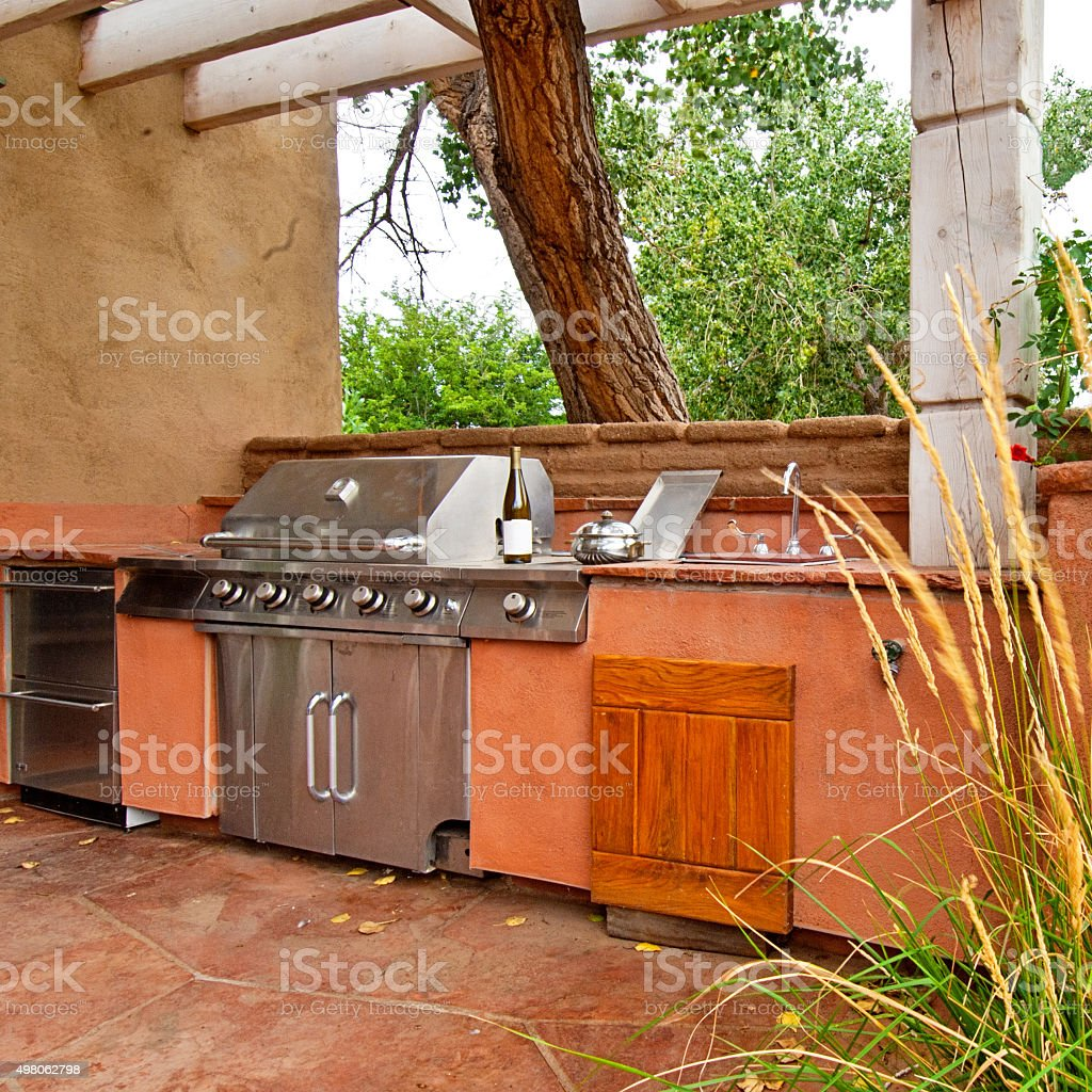 outdoors kitchen aid pasta attachment with builtin gas grill on a deck stock photo built in royalty free