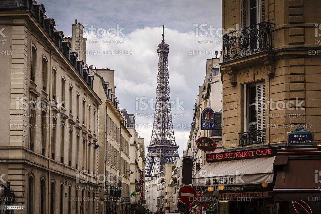 Parisian Street Against Eiffel Tower In Paris France Stock