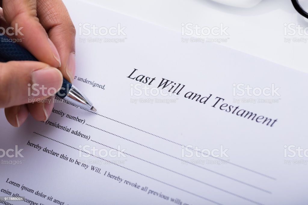 Person Filling Last Will And Testament Form Stock Photo & More ...