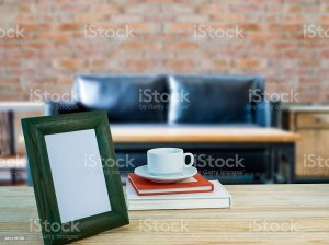 blurry living background frame counter wooden