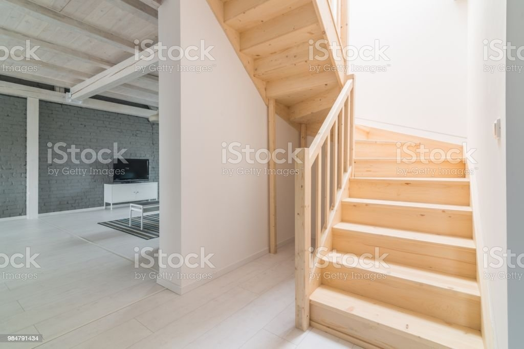 Pine Stairs In Hall Stock Photo Download Image Now Istock | Steps Design In Hall | Duplex House | Style Indian | Concept | Beautiful | Front Main Entrance