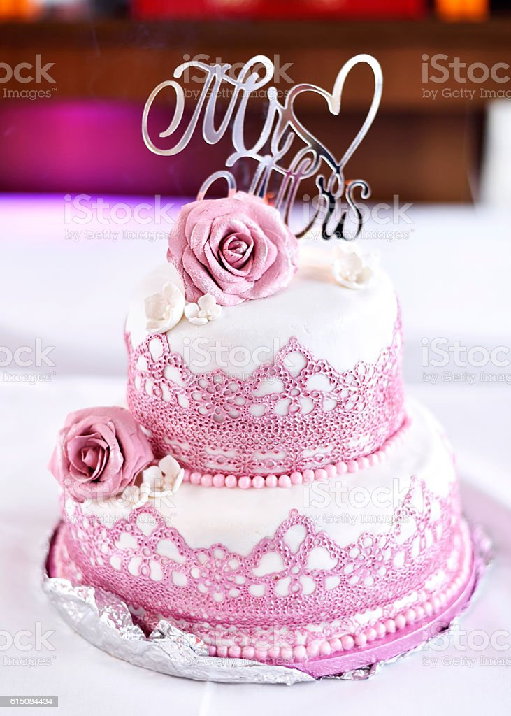 Pink And White Wedding Cake With Roses Stock Photo More Pictures