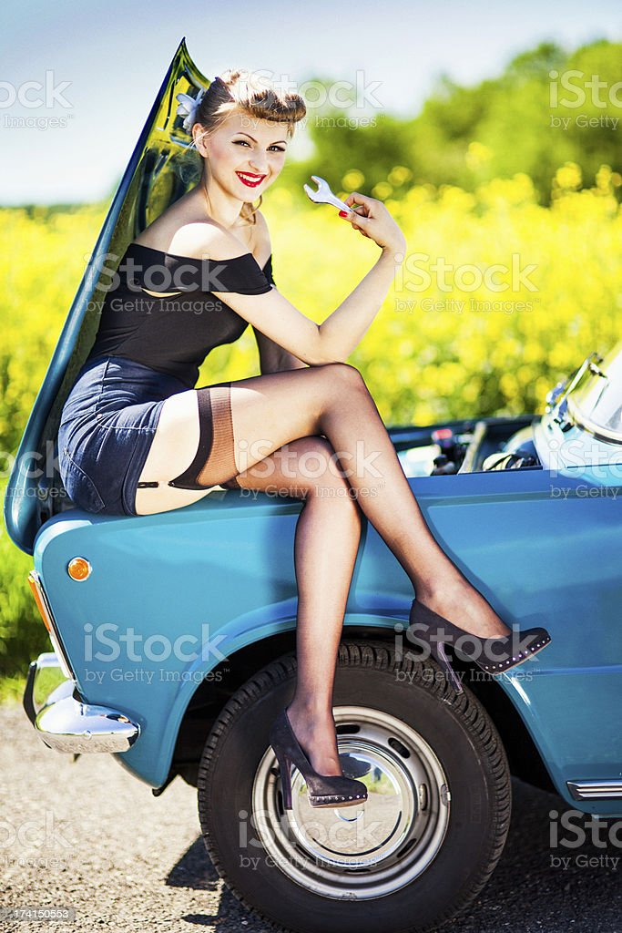 Cafe Racer Girl Wallpaper Pinup Girl With Car Stock Photo Download Image Now Istock