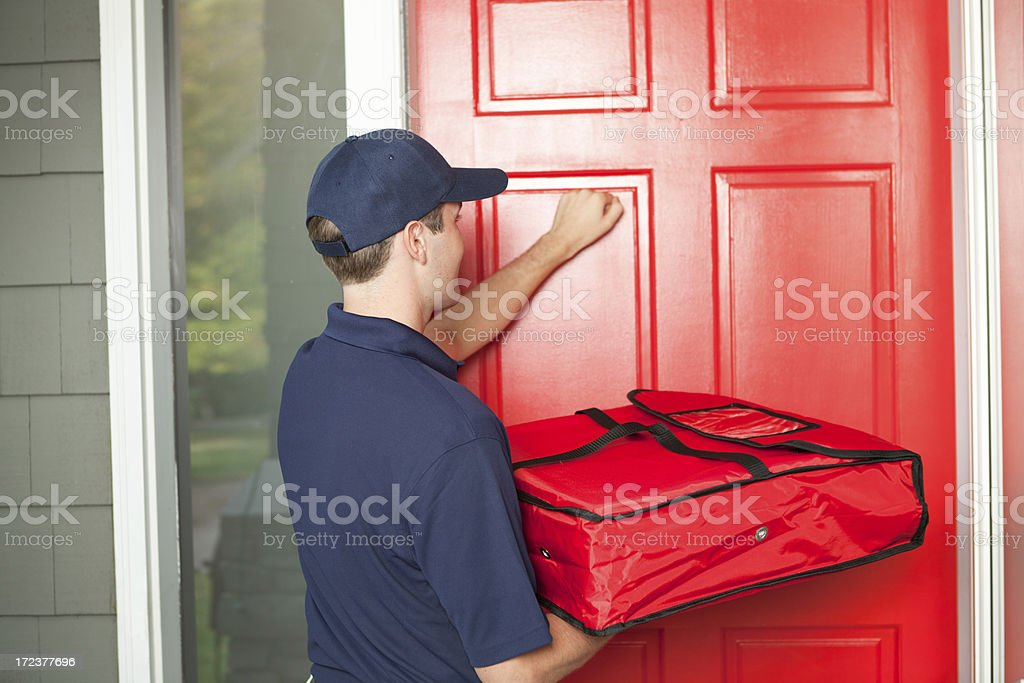Pizza Delivery Man Delivering Food Package To Customers ...