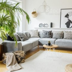 African Living Room Paint Ideas For With Stone Fireplace Plant Next To Grey Corner Sofa In Interior Poster And Pouf