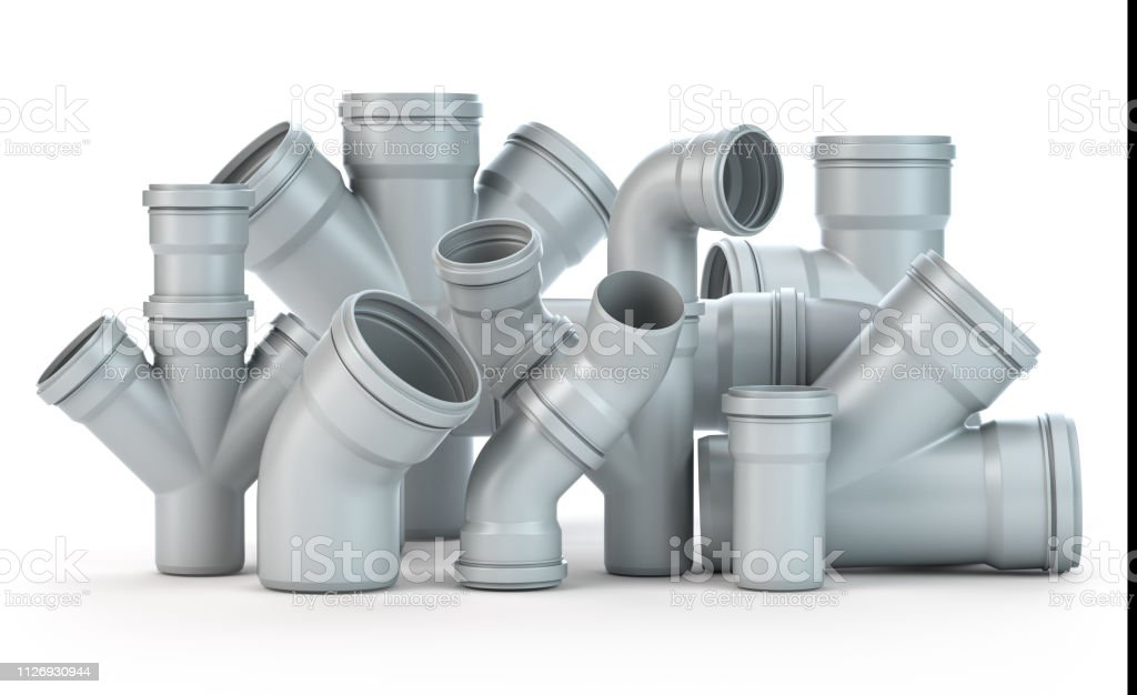 Plastic Pvc Pipes Isolated On The White Background Stock Photo - Download Image Now - iStock